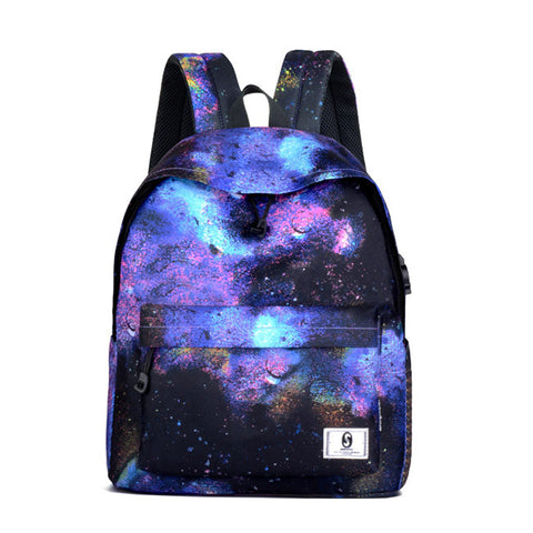 women men luminous backpack fashion starry printing USB charging double shoulder bags - HIRAM.ONLINE