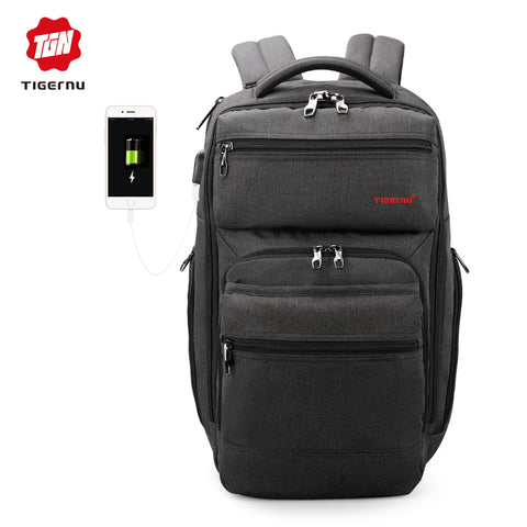 men fashion mochila escolar 15.6inch laptop backpack USB charge - HIRAM.ONLINE