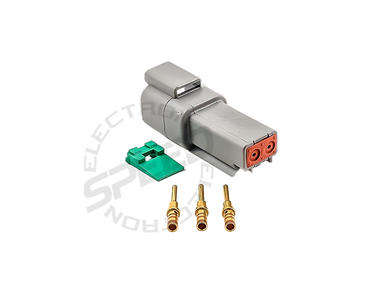 DEUTSCH DT Series connector, DT04-2P, Cavities: 2, Contact Size: 16, Current Rating: 13