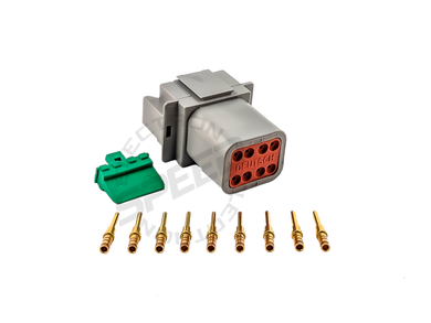 DEUTSCH DT Series connector, DT04-08P, Cavities: 8, Contact Size: 16, Current Rating: 13