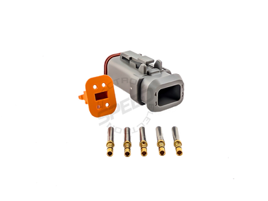 DEUTSCH DT Series connector, DT06-4S, Cavities: 4, Contact Size: 16, Current Rating: 13