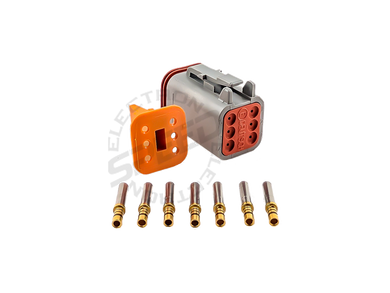 DEUTSCH DT Series connector, DT06-6S, Cavities: 8, Contact Size: 16, Current Rating: 13