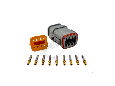 DEUTSCH DT Series connector, DT06-8S, Cavities: 8, Contact Size: 16, Current Rating: 13