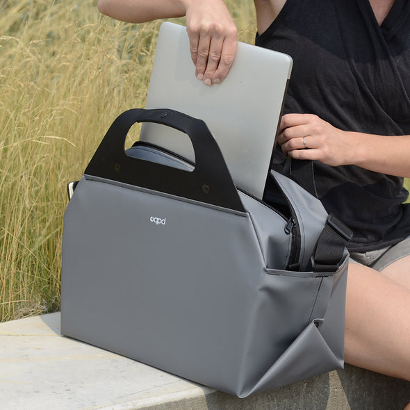 grey dufflebox computer bag