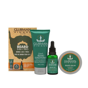 CLUBMAN Beard 3-in-1 Trio Kit (Oil, Balm, 2 In 1 Conditioner) - TBBS