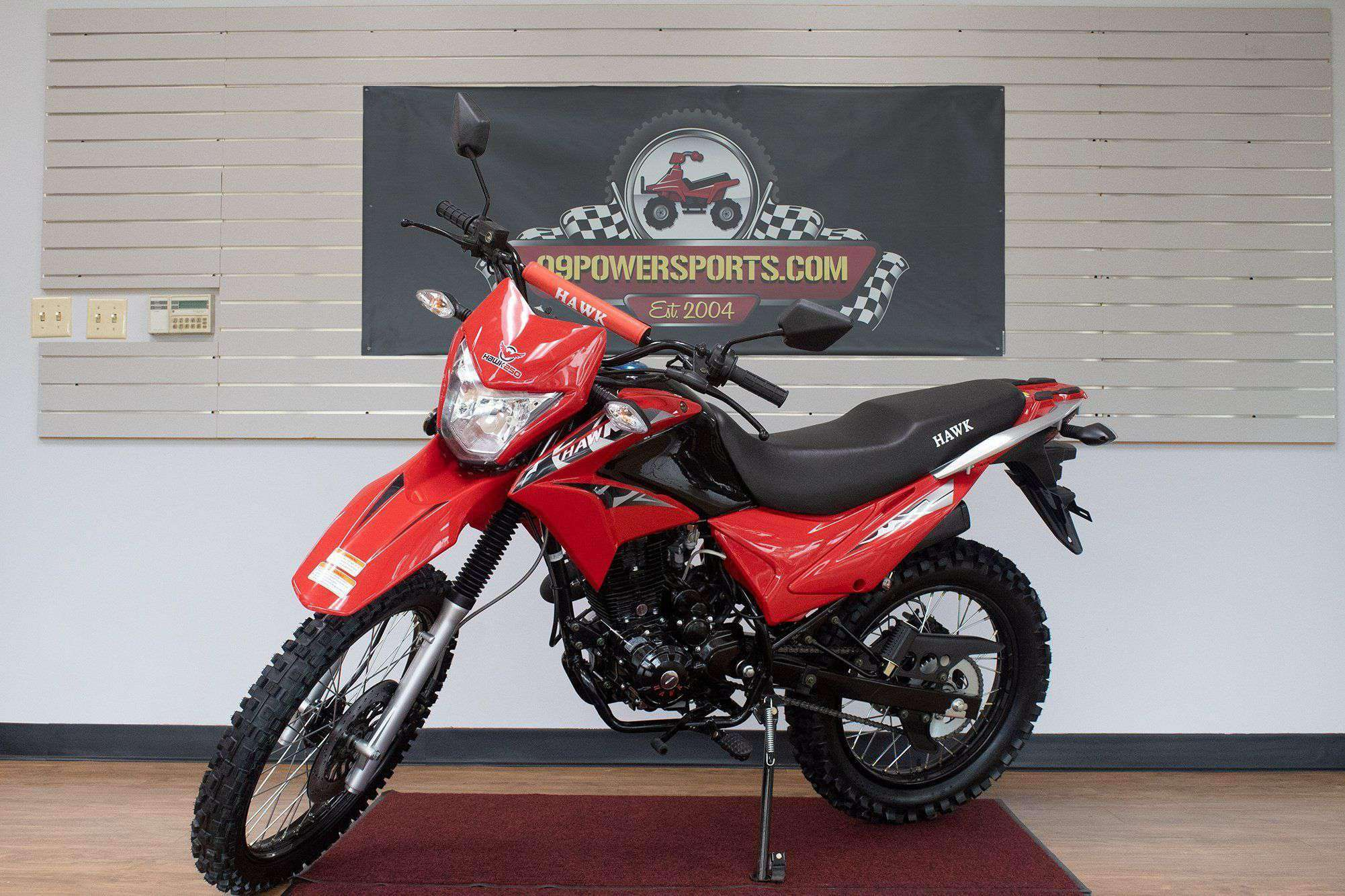 Red 250cc Dirt Bike Hawk 250 Enduro Street Bike Motorcycle Bike with Gloves Sunglasses and Handgrip