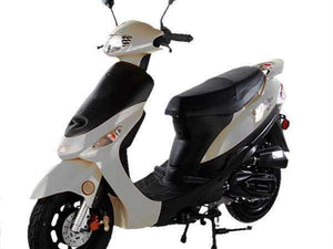 White Campus Cruiser Gas Powered 50cc Mopeds - Q9PowerSportsUSA