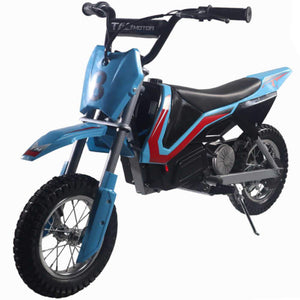 blue electric kids dirt bikes