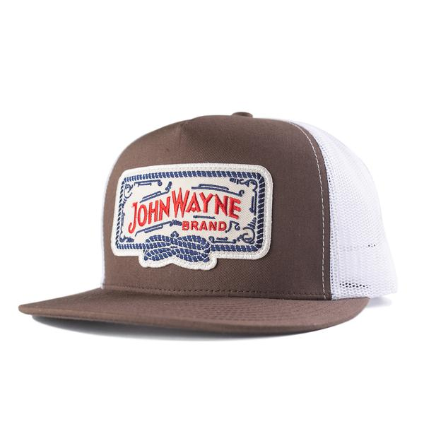 Flat Bill Roped Off Trucker Hat - Brown/White