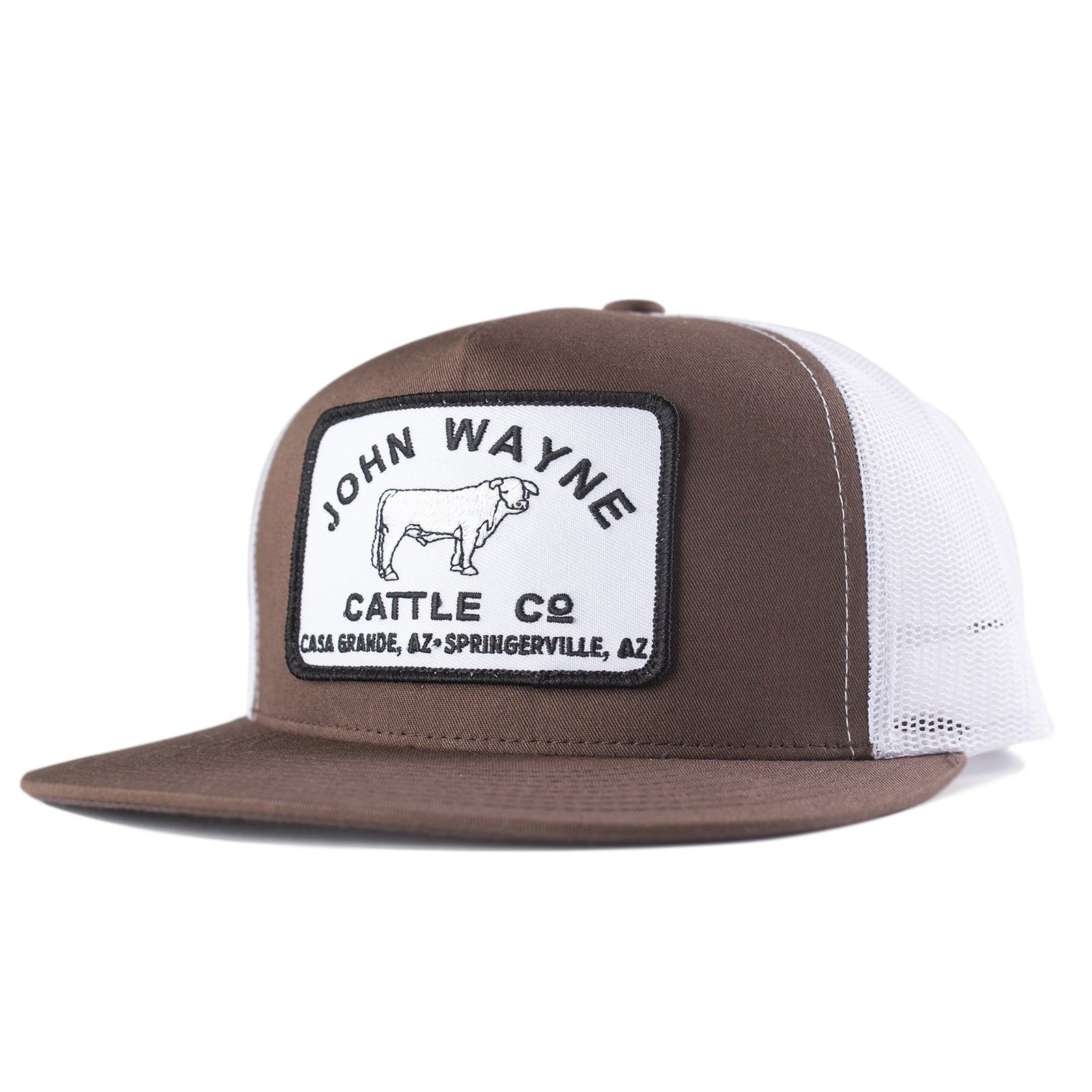 Flat Bill Cattle Co Trucker Hat - Brown/White