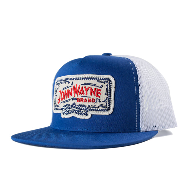 Flat Bill Roped Off Trucker Hat - Royal/White