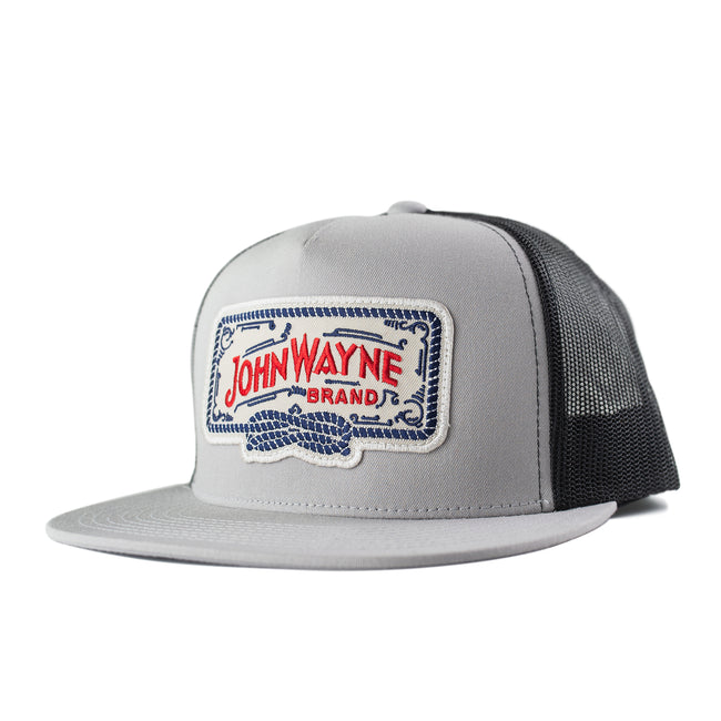 Flat Bill Roped Off Trucker Hat - Silver/Black