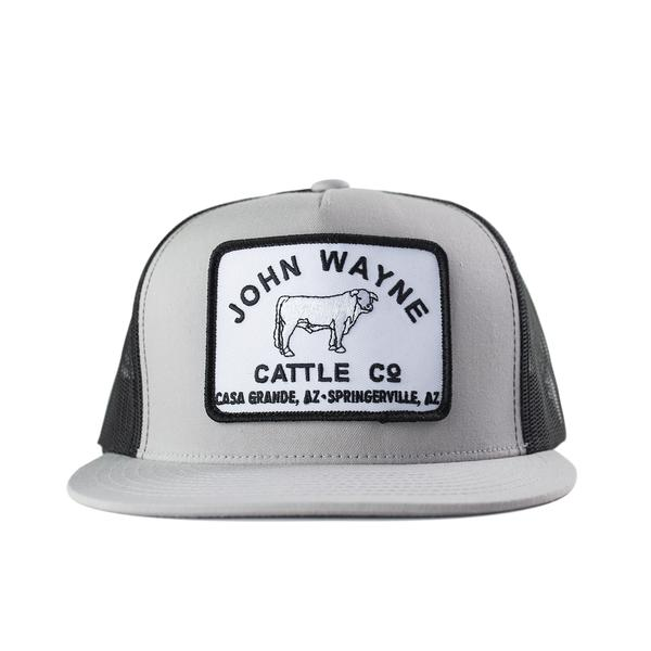 Flat Bill Cattle Co Trucker Hat - Silver/Black