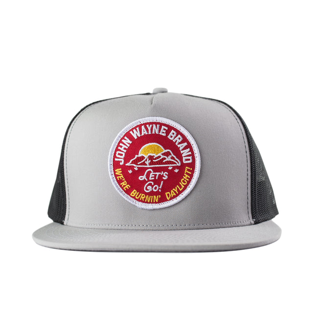 Flat Bill Let's Go Trucker Hat - Silver/Black