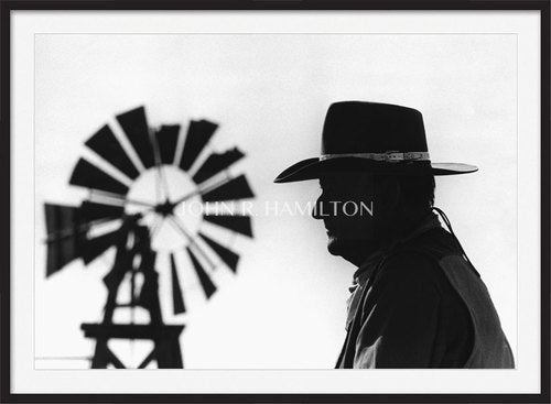JOHN WAYNE WITH WINDMILL IN BACKGROUND, 1967