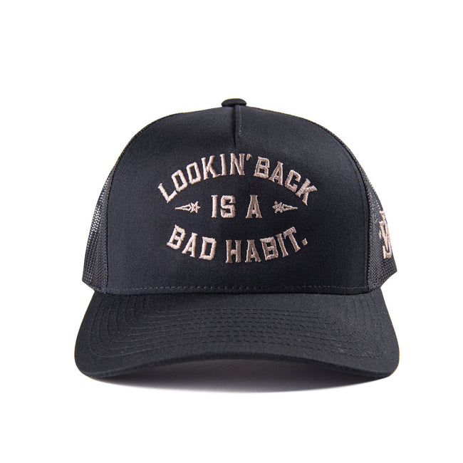 Looking Back Trucker Hat- White/Navy