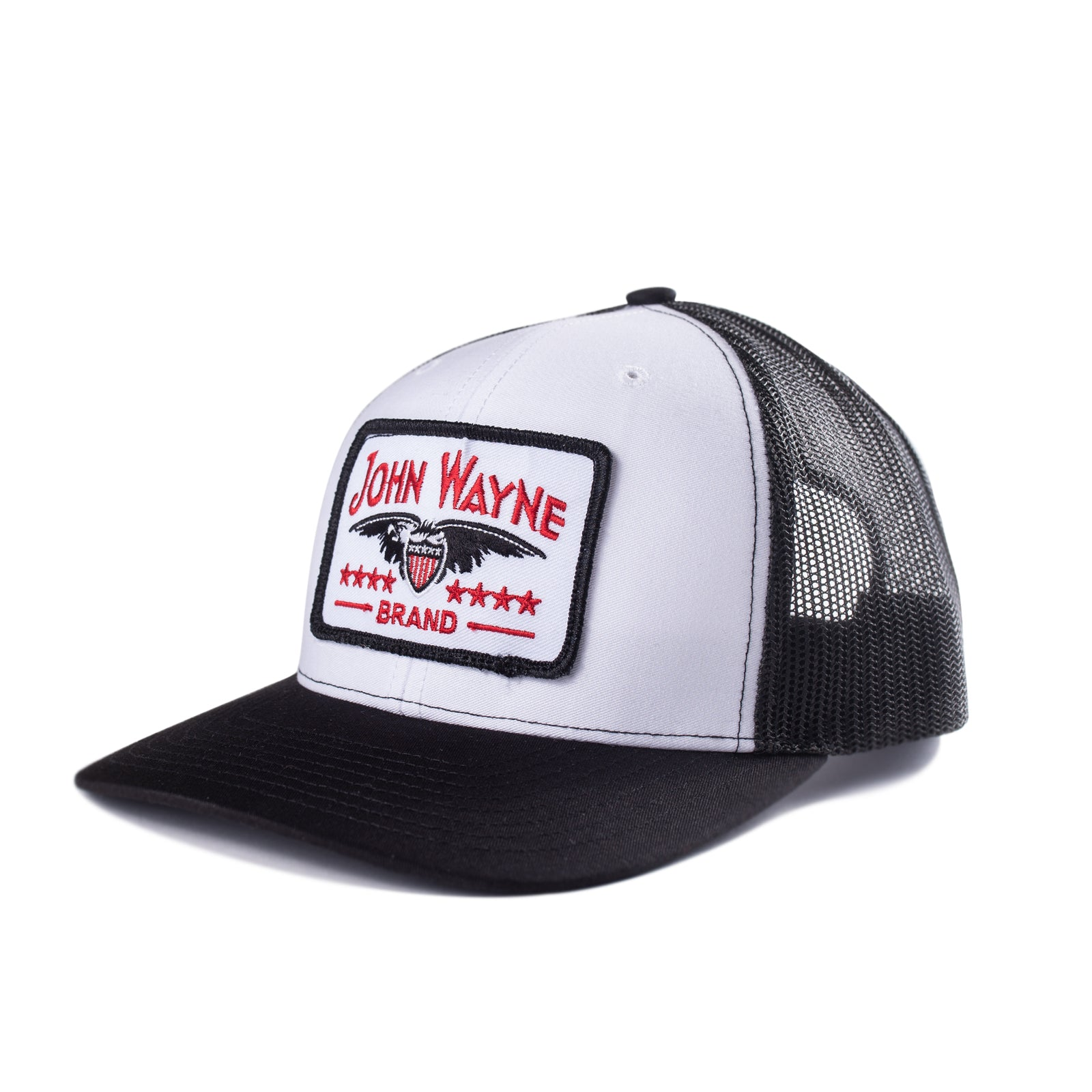 Curve Bill Stamp Trucker Hat - Black/White