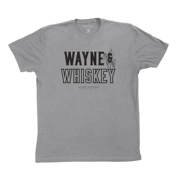 Wayne & Whiskey Tee- Heather Grey