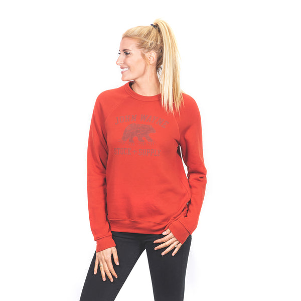 Women's CMG Bear Claw Crewneck- Brick