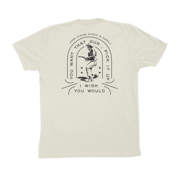 Pick It Up Gun Tee- Vintage White