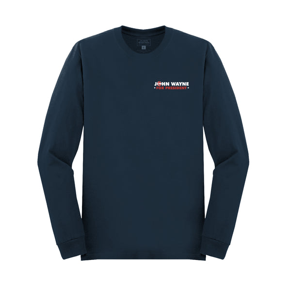 John Wayne For President Long Sleeve- Navy