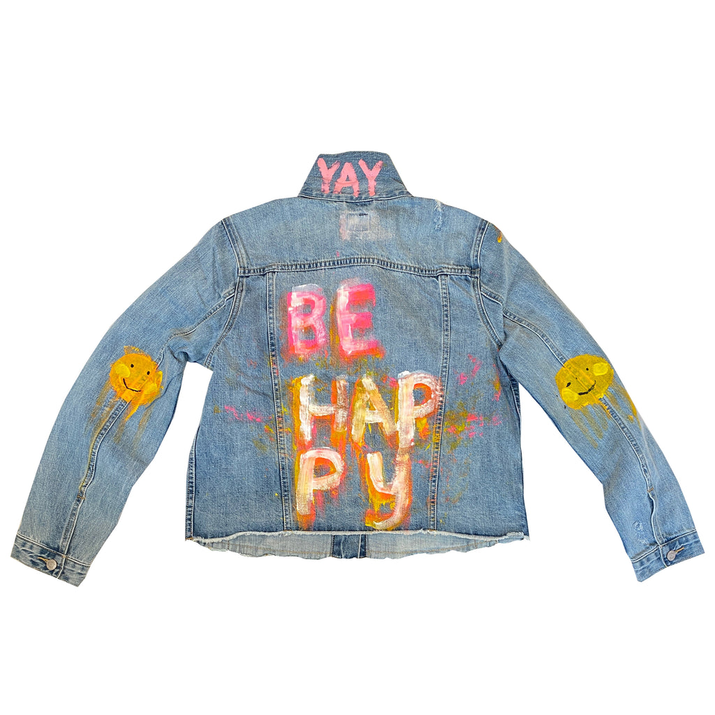 Be Happy Handpainted Denim Jacket