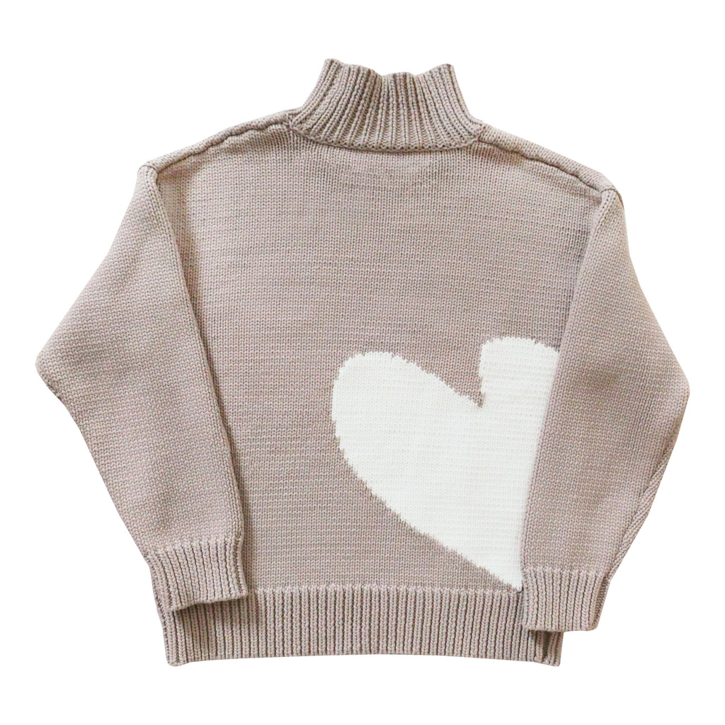 Imperfect Heart Cotton Mock Neck - Grey