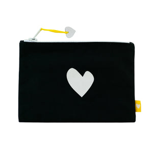 Imperfect Heart Canvas Pouch - Carbon