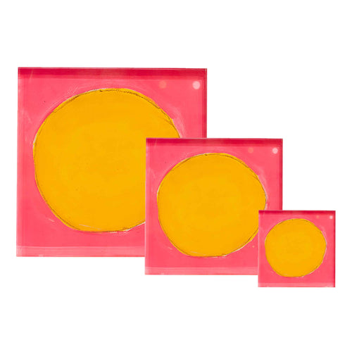 Pop Pink Sunflower Dots Block of Love