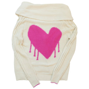 Drippy Heart Summer Cardigan Pop Pink