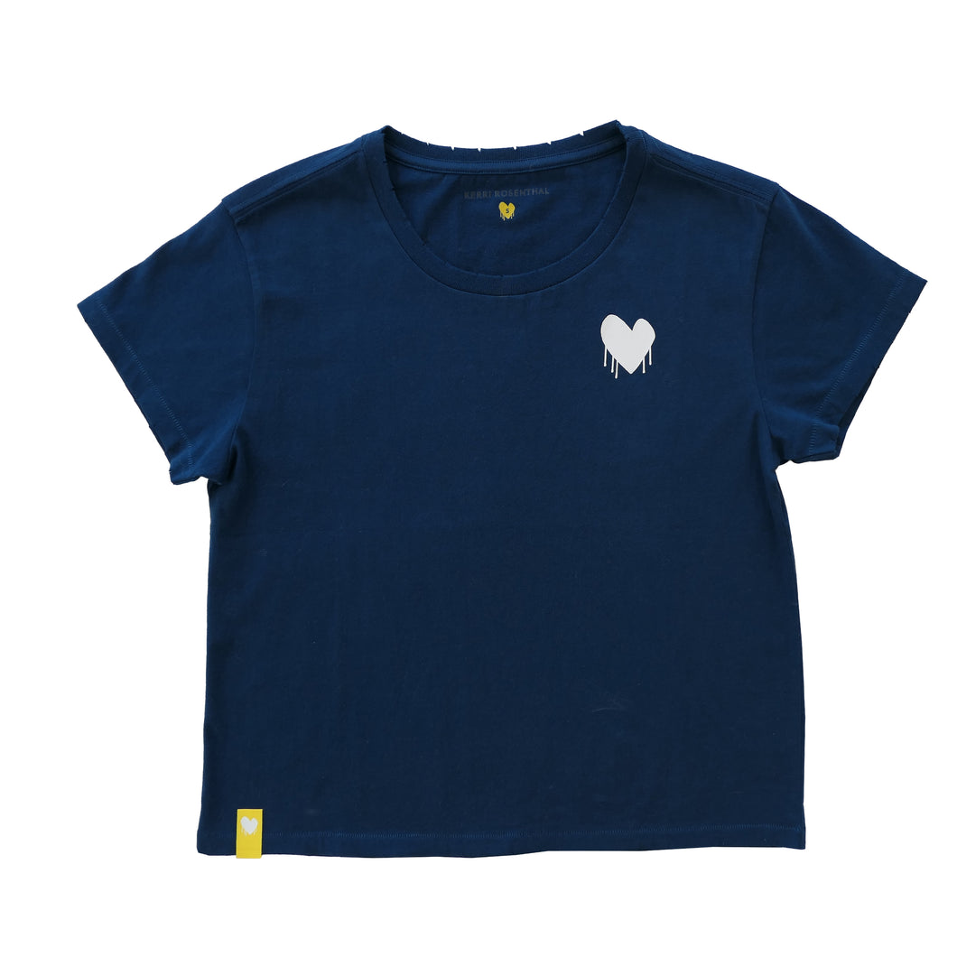 Drippy Heart Tee Shirt - Indigo