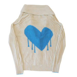 Drippy Heart Summer Cardigan True Blue