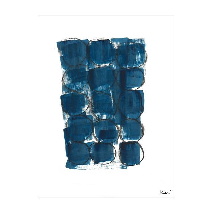 Faces Indigo Art Print