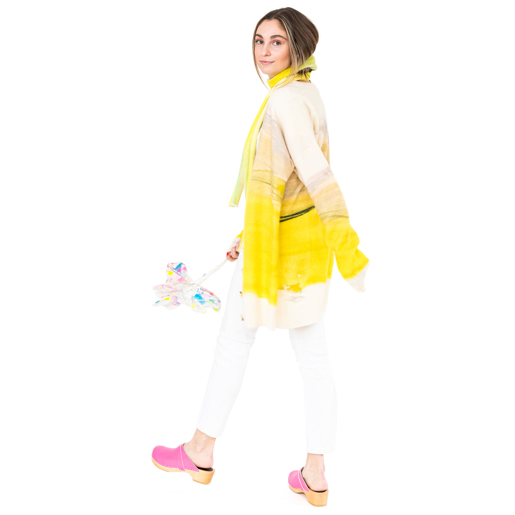 Jumbo Cashmere Cardi Gemstone Yellow