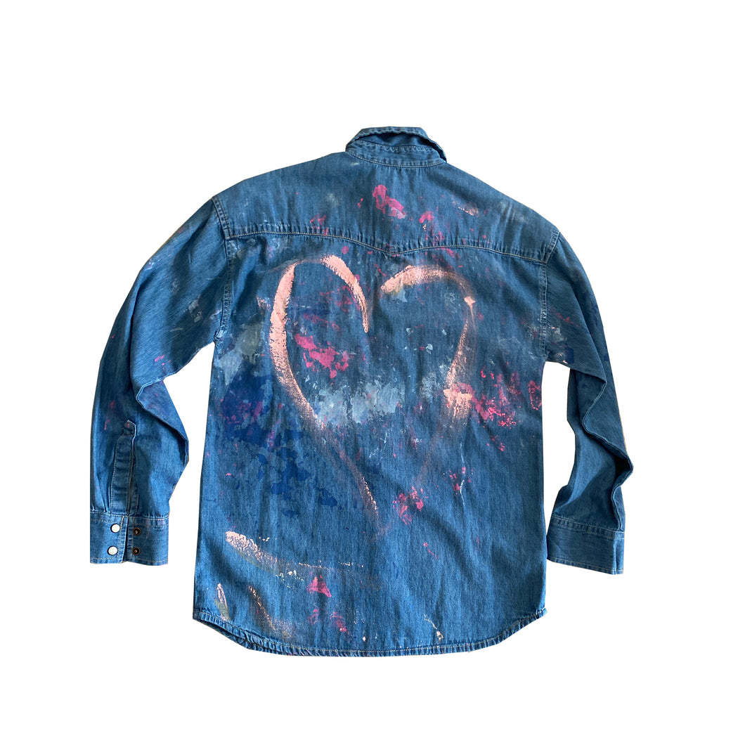 Heart Handpainted Denim Shirt