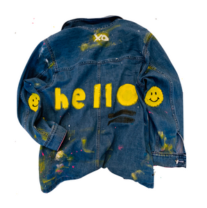 Hello Handpainted Denim Jacket