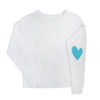 Imperfect Heart Sweatshirt White/Turquoise