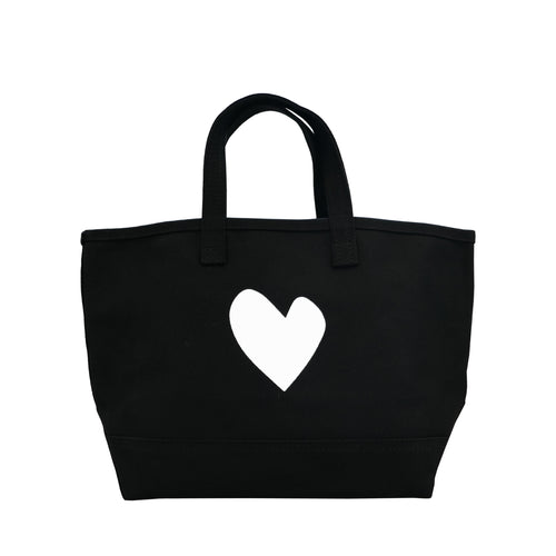 KR Canvas Tote - White Imperfect Heart on Black