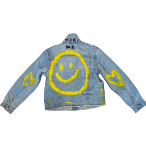 Make Me Smile Handpainted Denim Jacket