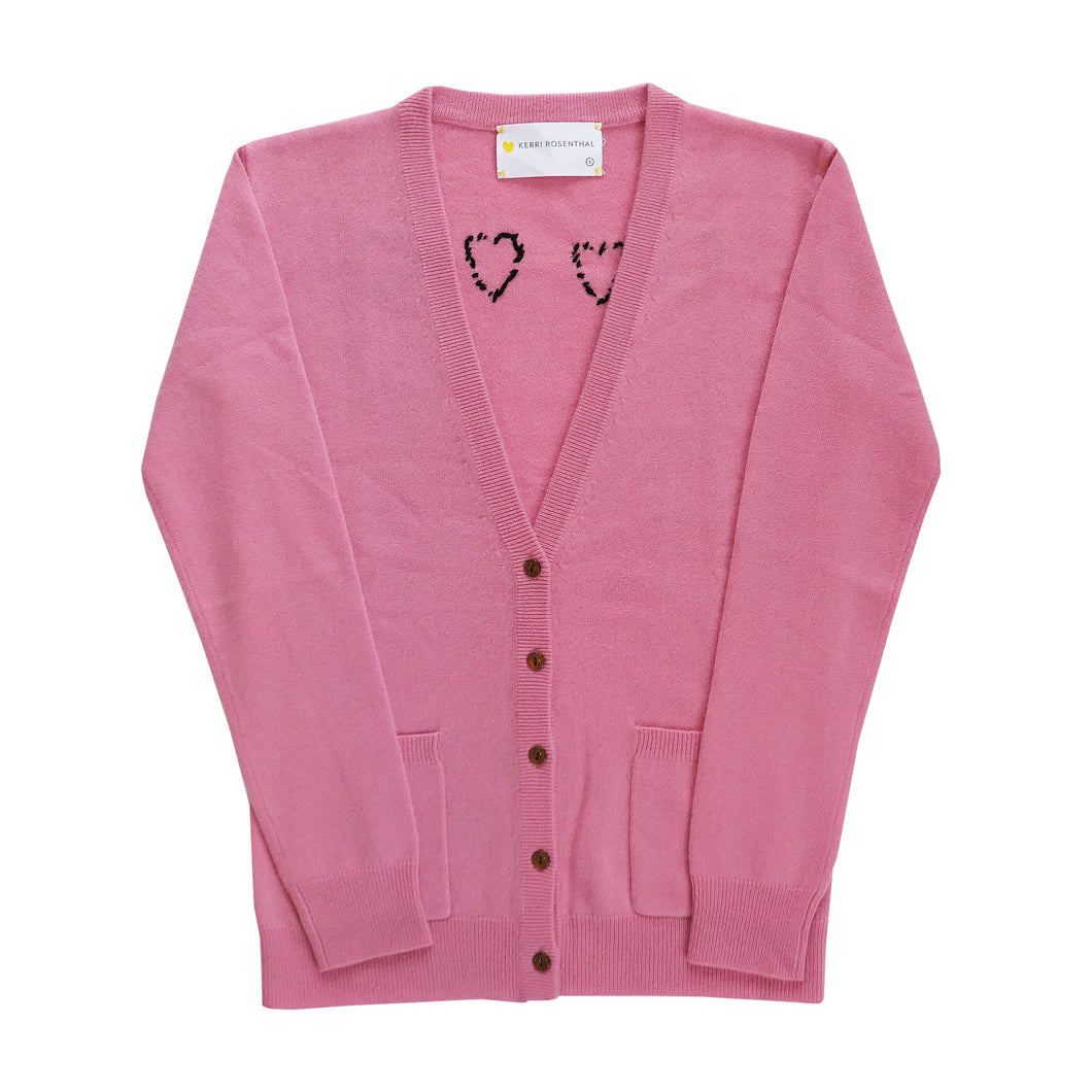 The Melvin Cashmere Cardigan - Blush Work Of Heart