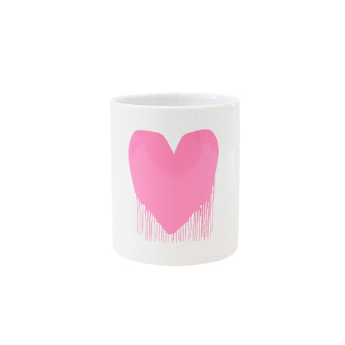 Drippy Heart Mug 11oz- Pink