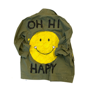 Oh Hi Happiness Handpainted Army Jacket