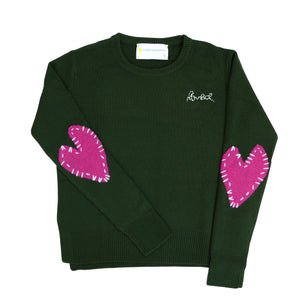 Patchwork Love Cashmere - Forest Green + Magenta