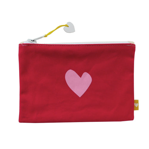 Imperfect Heart Canvas Pouch - Red