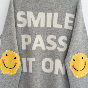 Smile Patchwork Long Cashmere Sweater