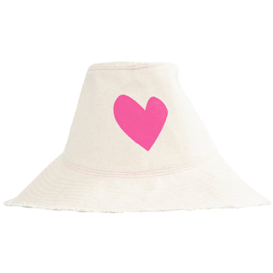 Sunny Daze Imperfect Heart Hat Natural - Pop Pink