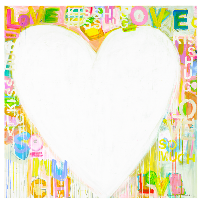 Kiss Hug + Love  Drippy Heart Art Print