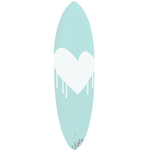 Drippy Heart Aqua Surfboard