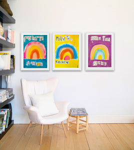 Follow The Rainbow Turq Art Print