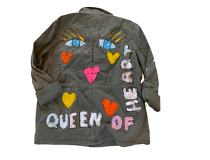QUEEN OF HEARTS , HANDPAINTED ARMY JACKET